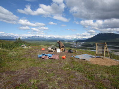 Archaeologists excavating in the central Alaska Range