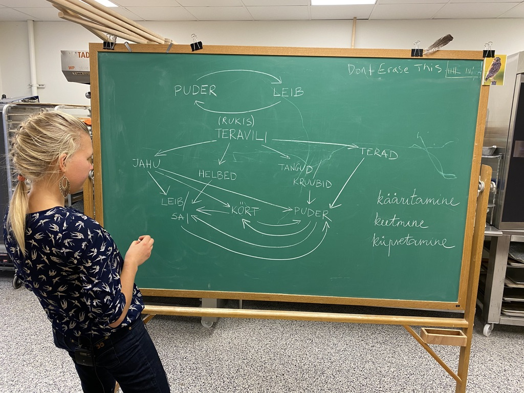 PhD student Laura Valli stands at a chalkboard.