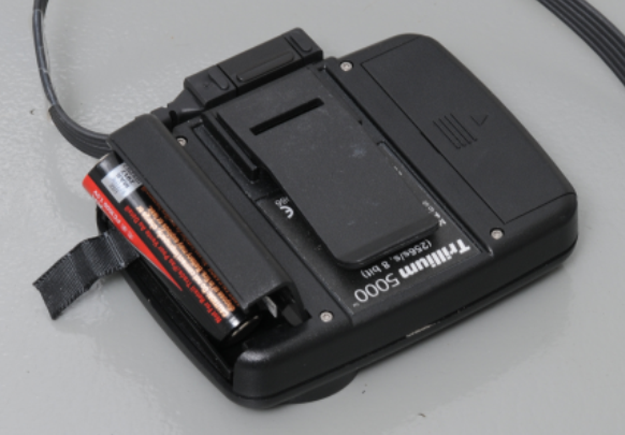 Close up image showing battery compartment for monitor.