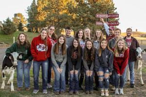 Group photo of fifteen Dairy Club members