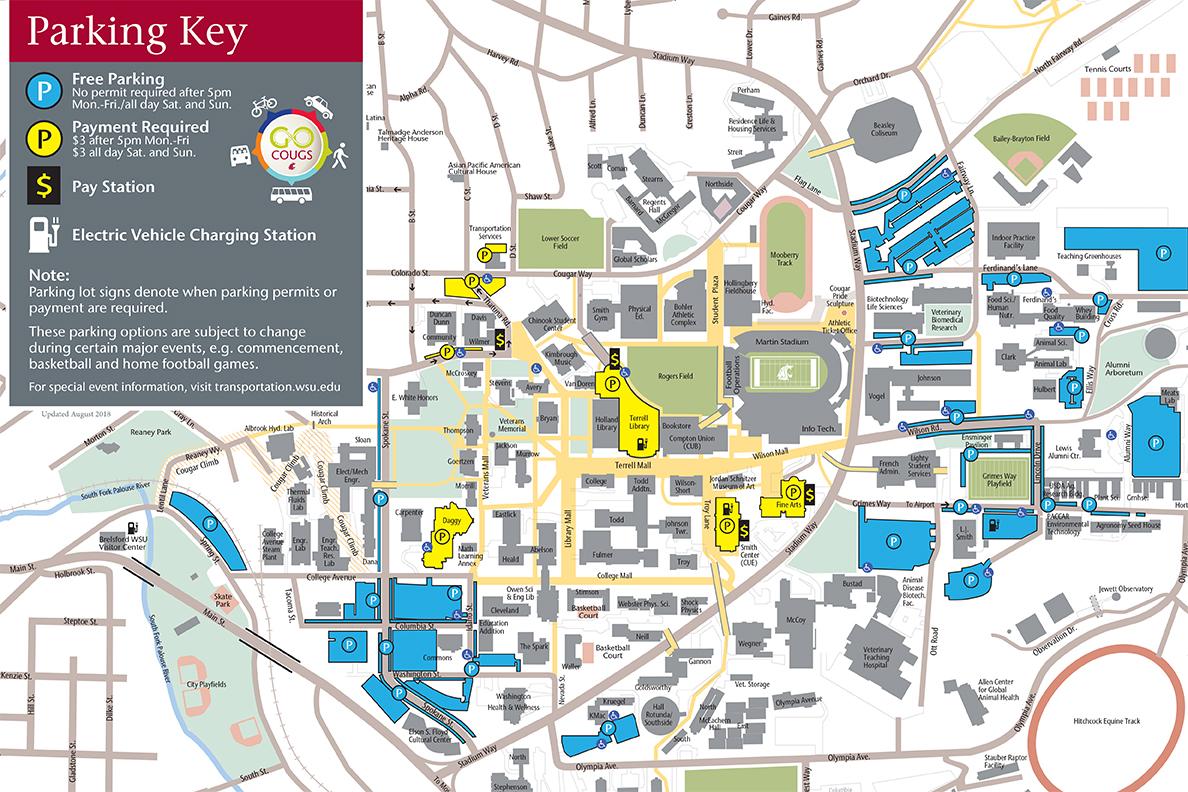 Parking map of WSU Pullman campus.