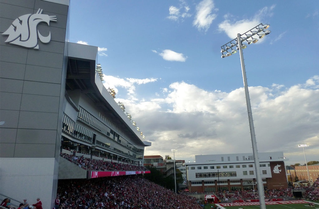 Fans pack Martin Stadium to watch a Cougar football game.