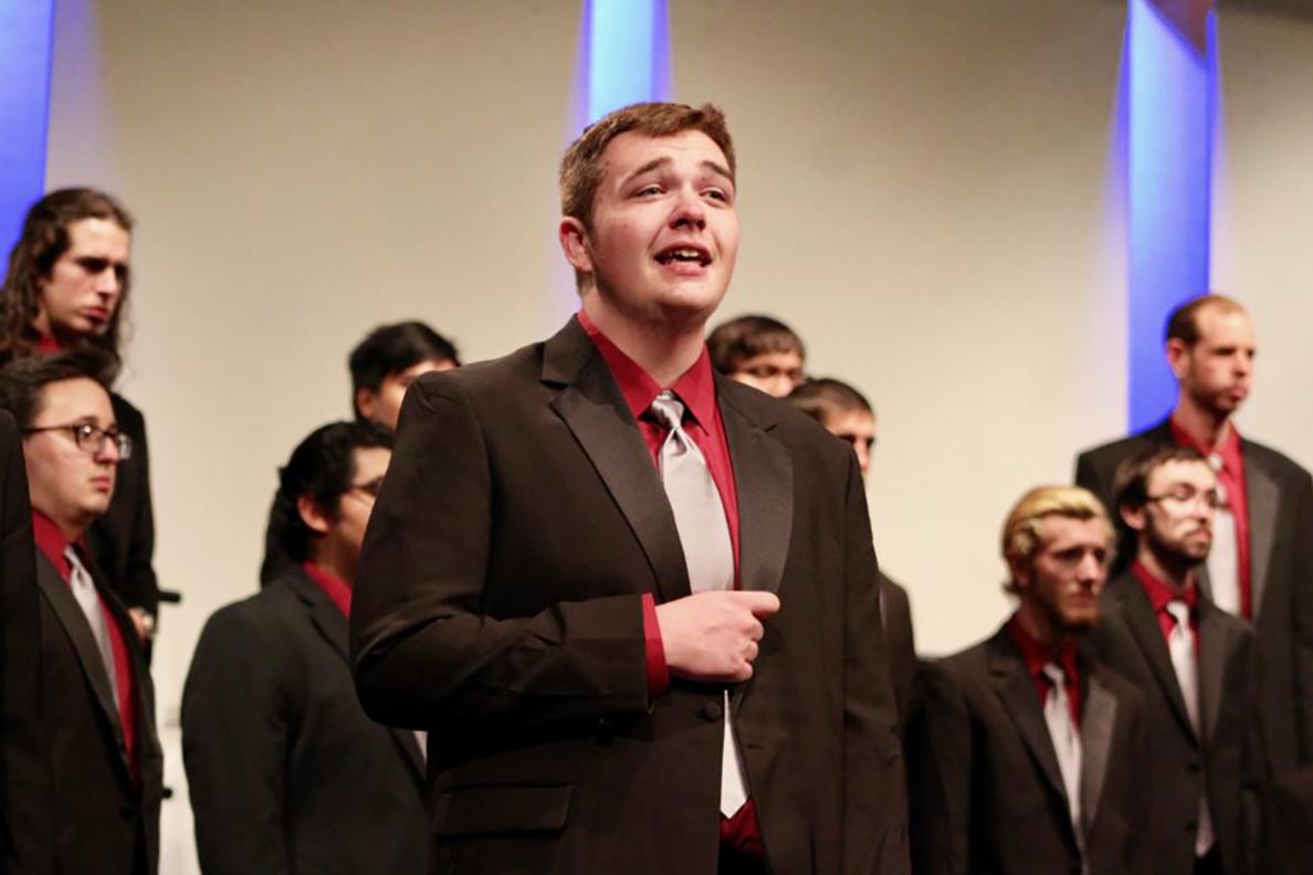 A student choir singing.