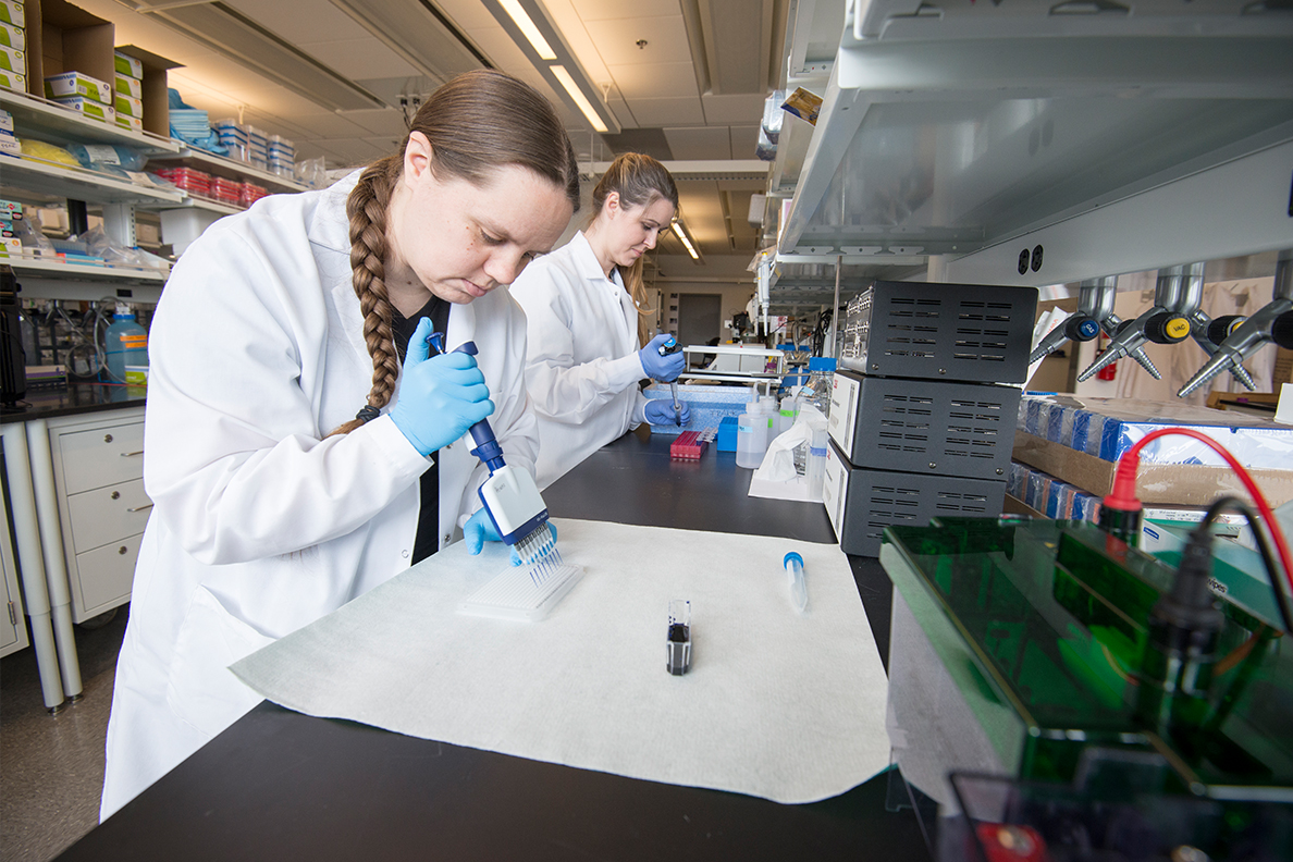 Neuroscientists Hannah Schoch and Ashley Ingiosi investigate the genetic basis of sleep problems in autism in the Peixoto laboratory at WSU Health Sciences Spokane.