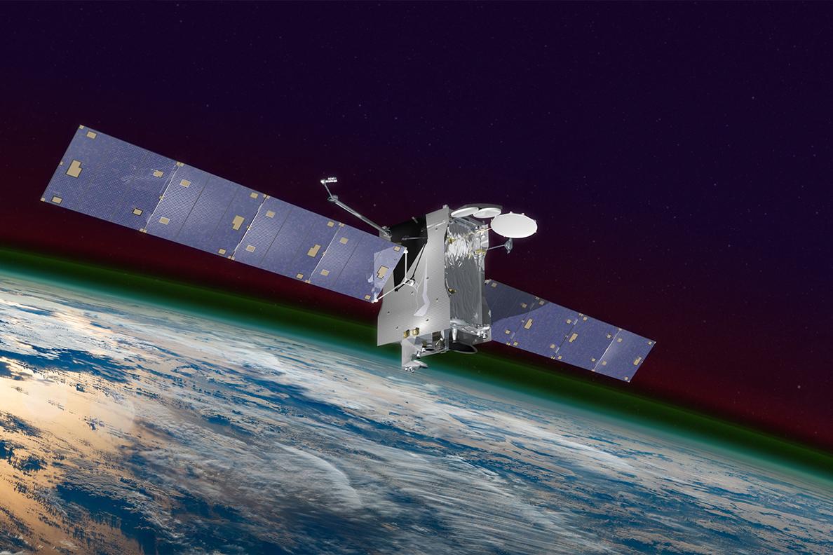 Space satellite orbiting Earth.