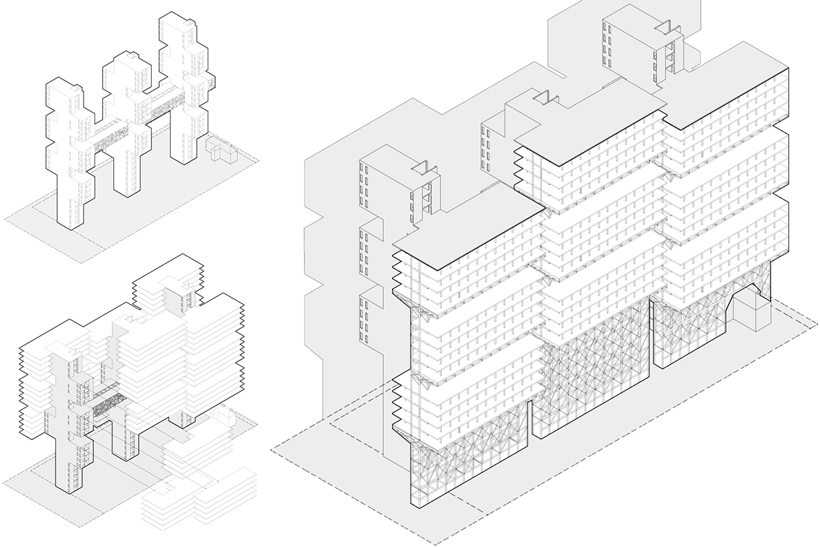 A rendered image of timber city architecture