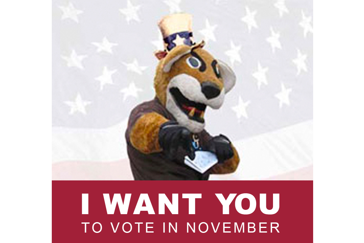 Butch T. Cougar encouraging people to vote.