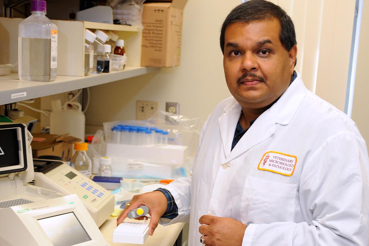 Closeup of Santanu Bose in a laboratory.