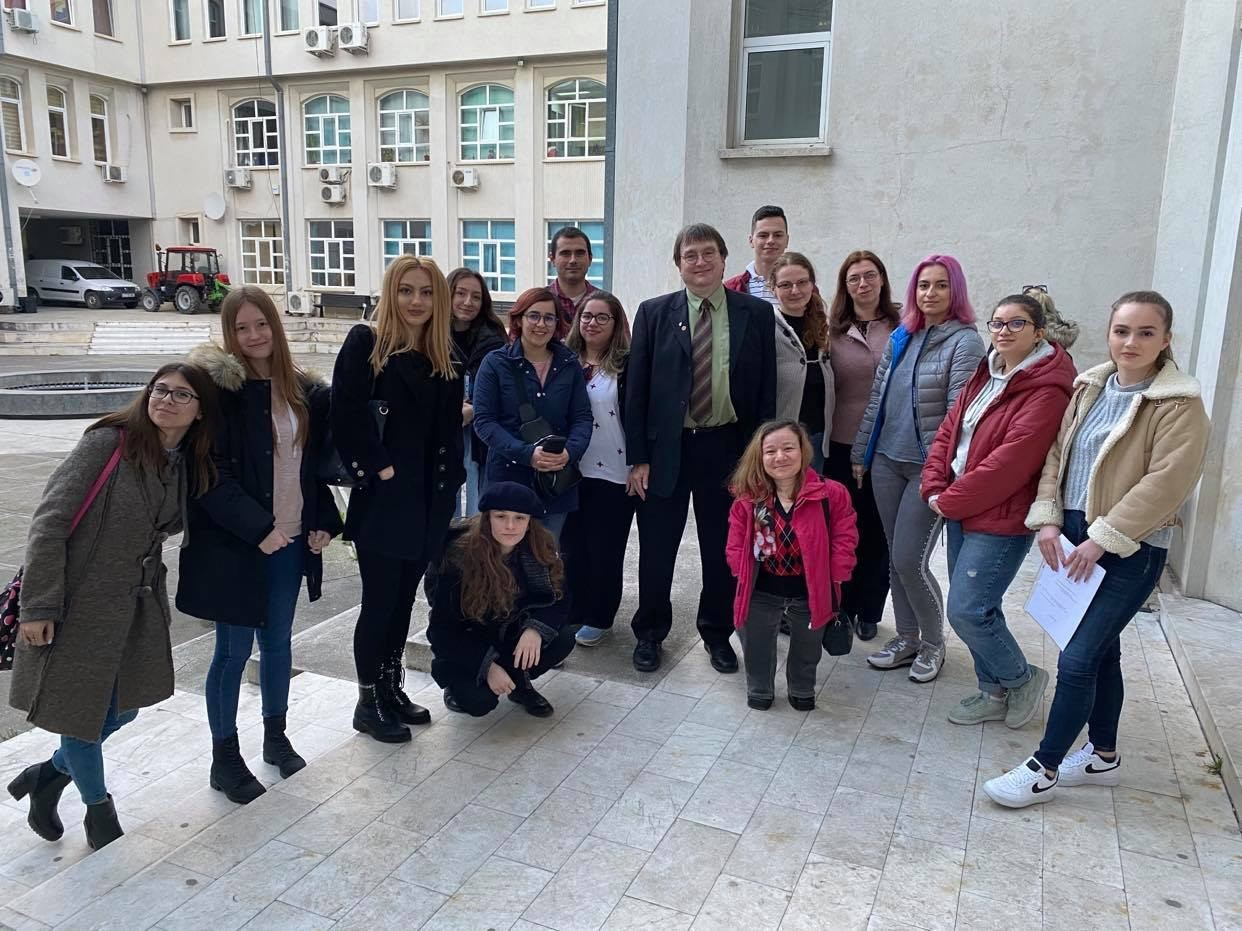 Thomas Preston is pictured with students in his political psychology class at Ovidius University in Romania.
