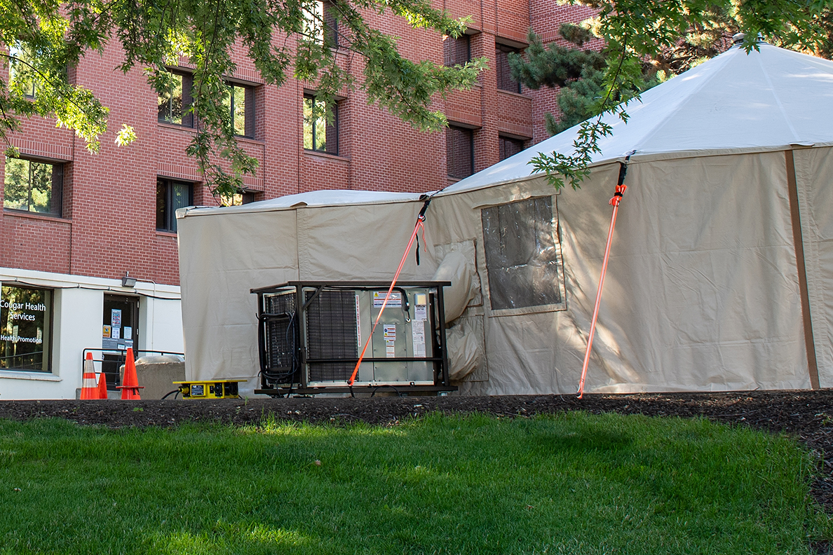 Outdoor tents that will be used on the WSU Pullman campus for COVID-19 testing.