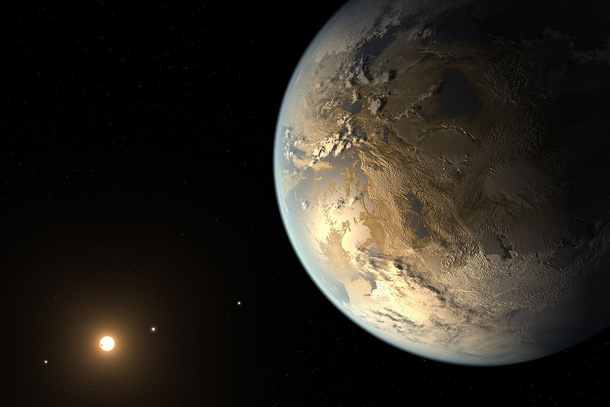 A large Earth-like planet in front of a distant sun