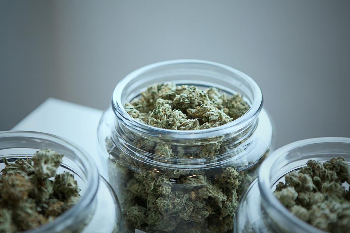 Glass jars of cannabis.