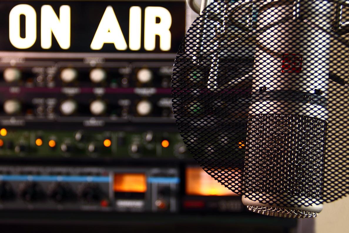Closeup of a radio microphone in a studio.