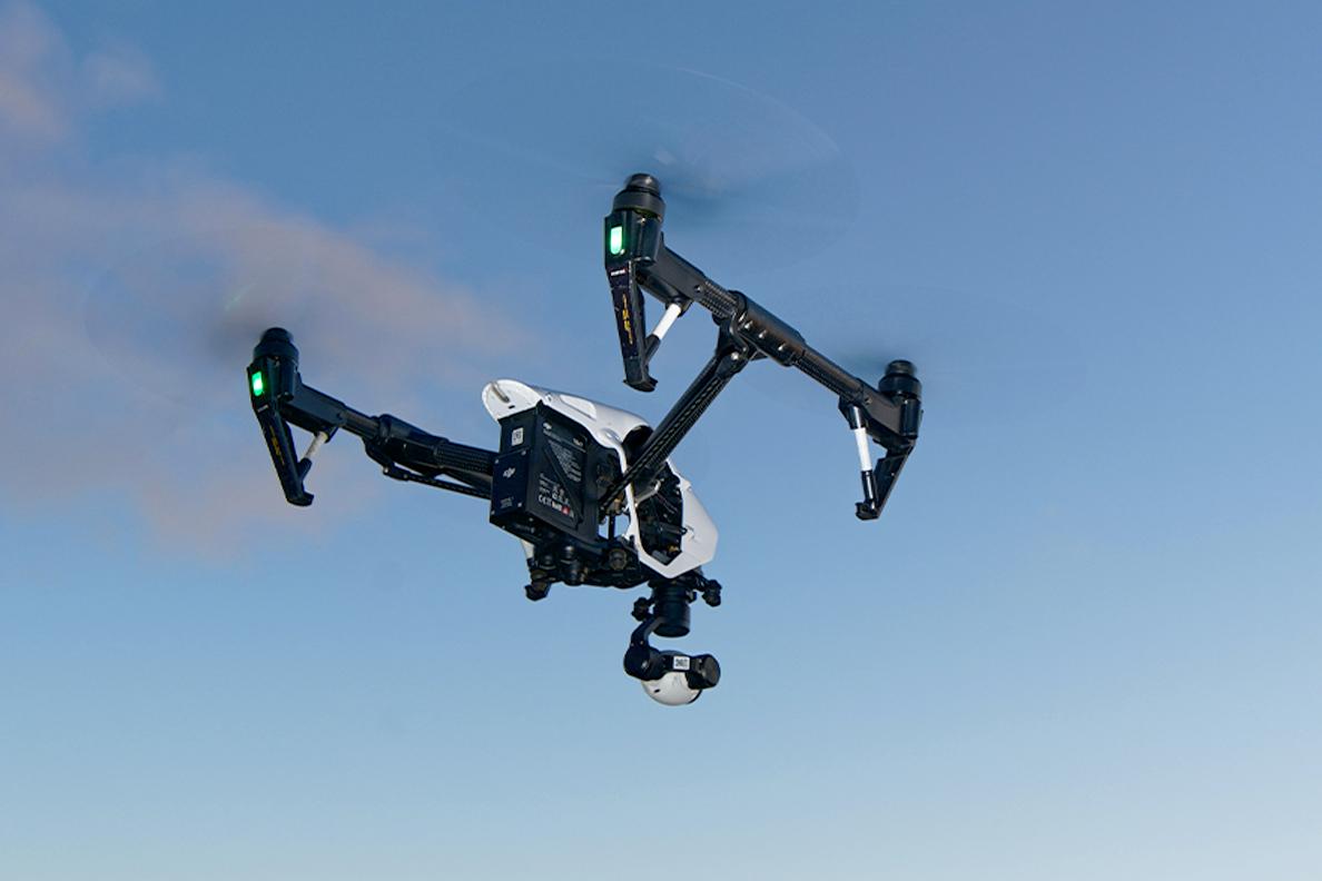 Closeup of a UAV in flight.