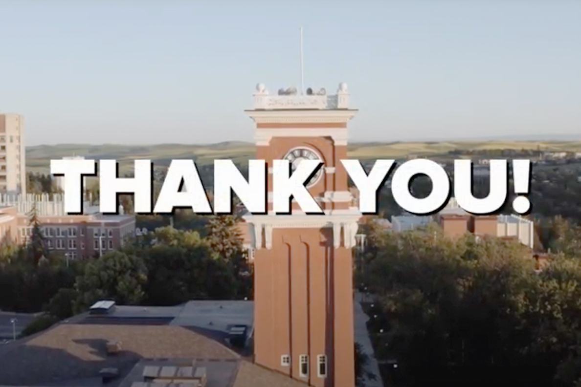 'Thank you!' text in front of an aerial view of the WSU Pullman campus.