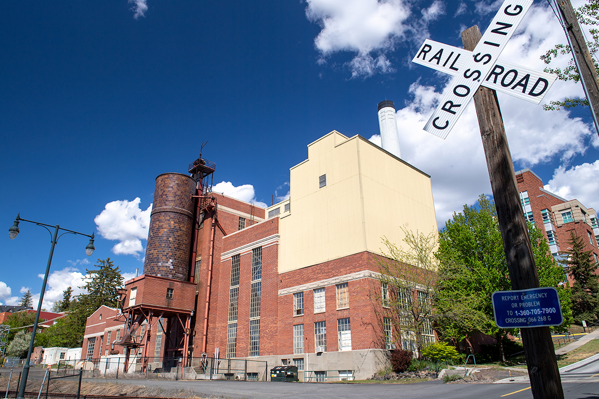 Exterior view of steam plant on the WSU Pullman campus.