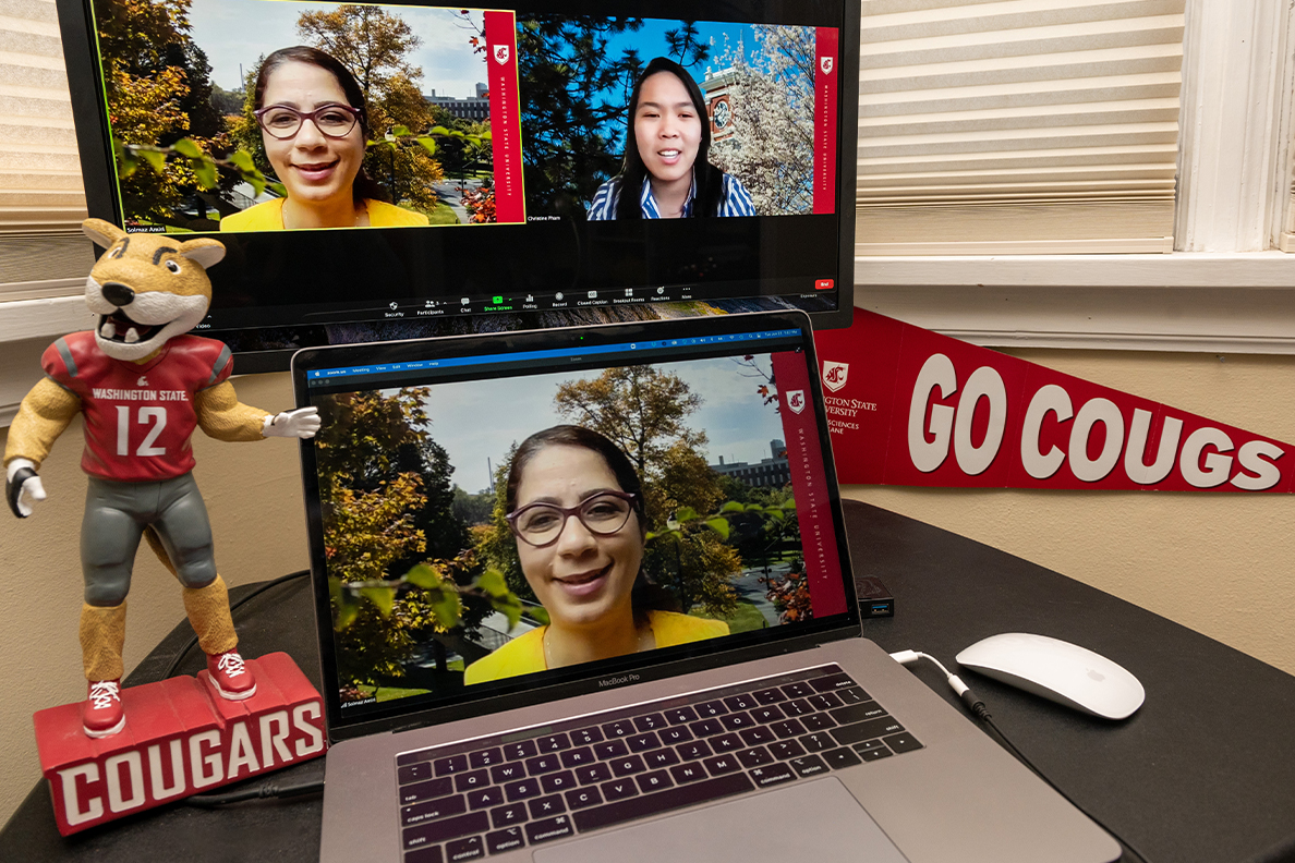 Student Christine Pham and her faculty mentor Solmaz Amiri in the Health Equity Analytics Lab collaborate over Zoom.