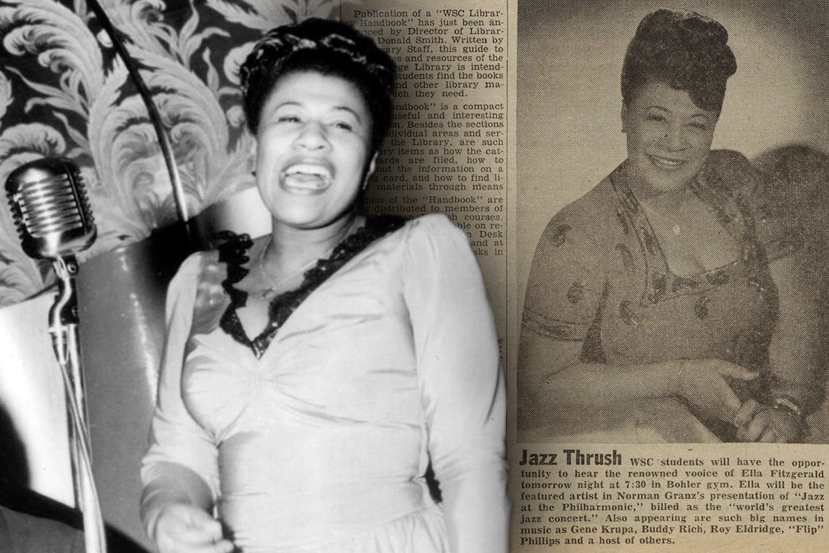 Closeups of Ella Fitzgerald performing and a section of the Washington State College's Daily Evergreen promoting her upcoming appearance.