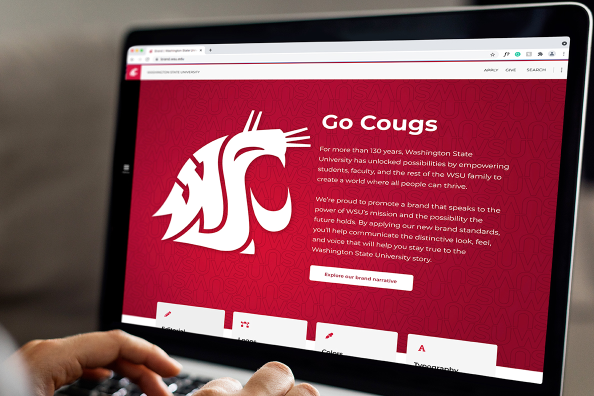 Hands at the keyboard of a laptop displaying a WSU webpage showcasing the latest brand refresh.