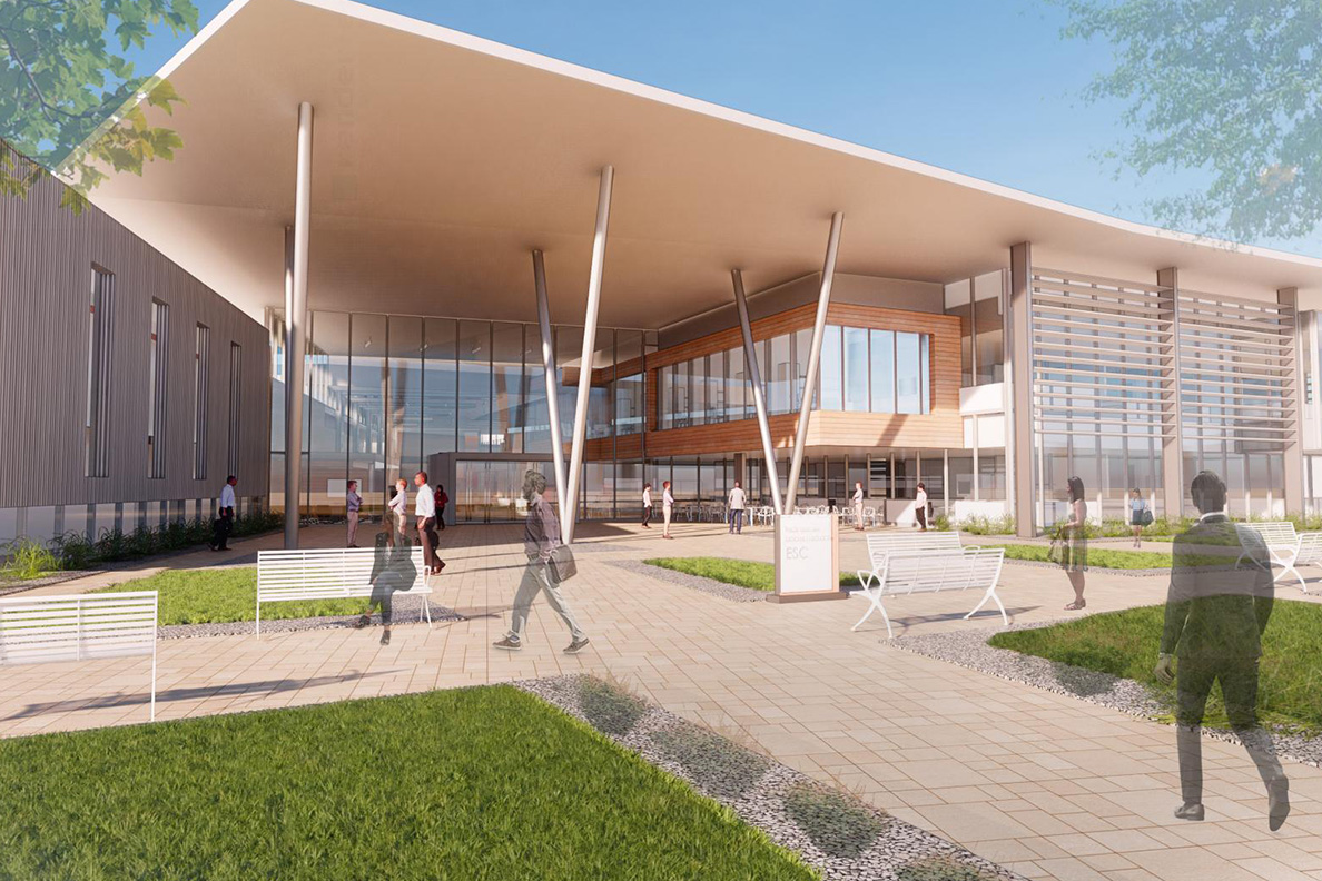 An artist's rendering of the new Energy Sciences Center in Richland.