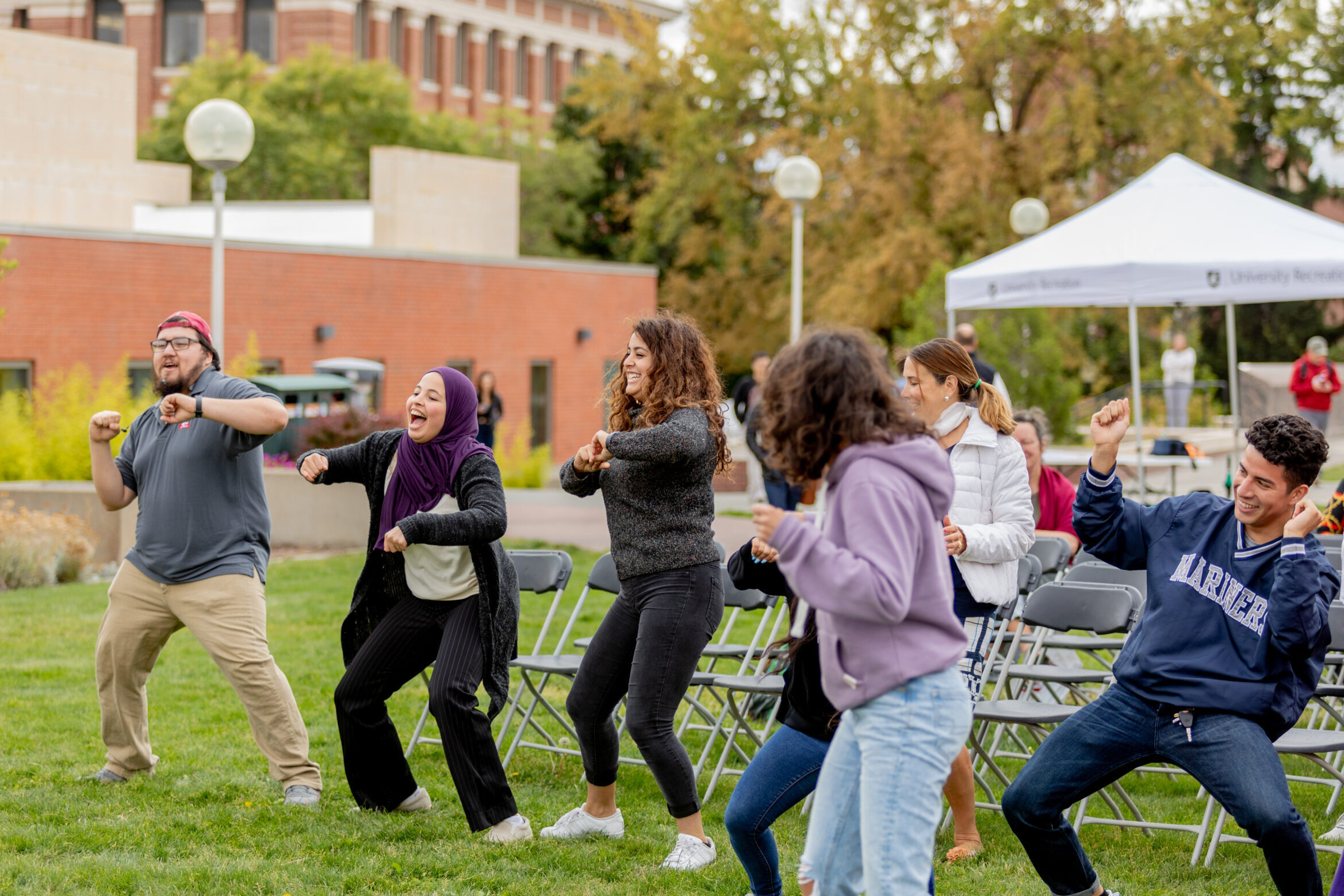 Students participate in a dance program at the Latinx Heritage Month kickoff event in 2019.