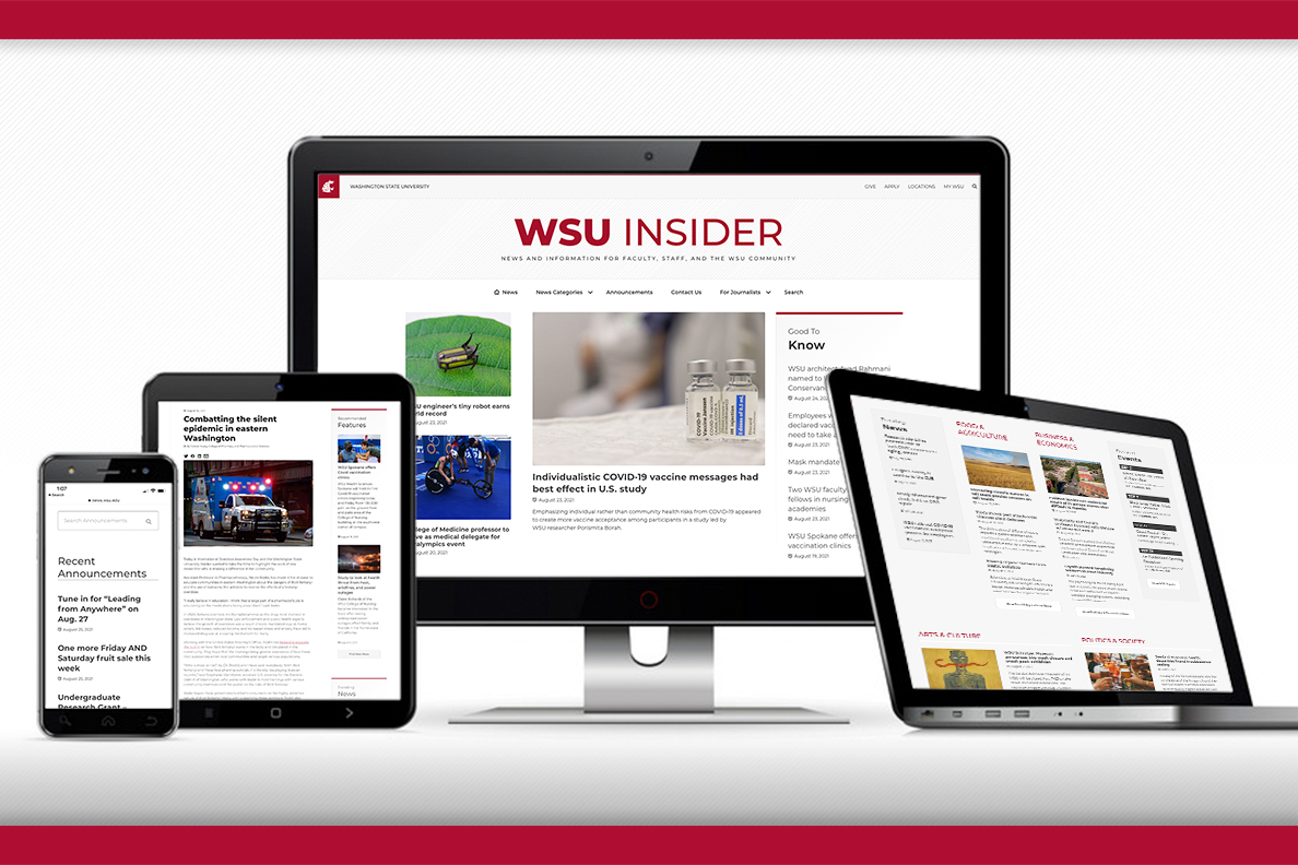 Desktop and laptop computers, a tablet, and a smartphone all showcasing the latest WSU Insider website design.