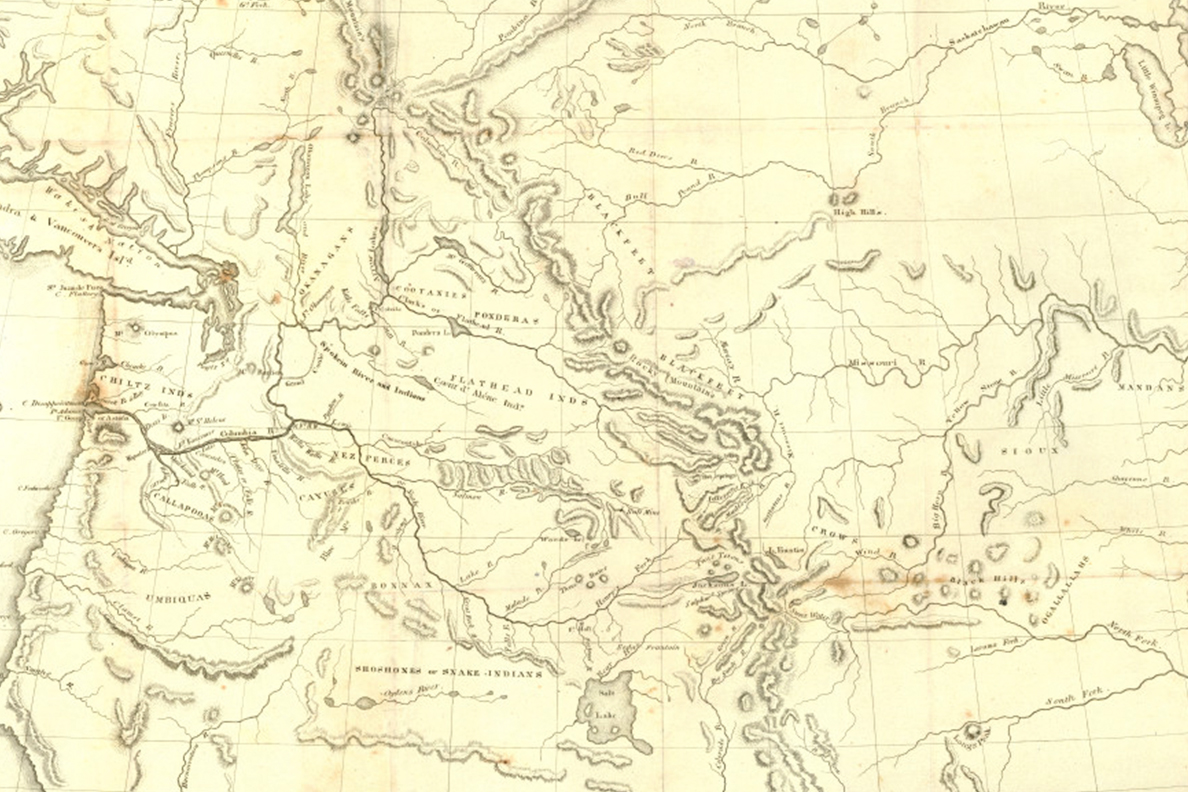 An 1838 map of the Oregon Territory.