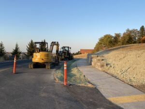 A new six-foot-wide sidewalk being constructed along Olympia Avenue in Pullman.