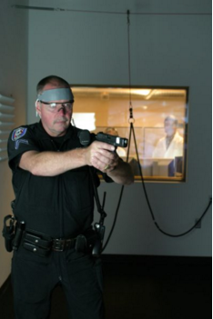 Officer during simulation exercise