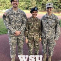 WSU College of Nursing students Nick Castro, left, and Brianne Harder, right, with 2016 College of Nursing grad, 2nd Lt. Jaclyn Sison at Landstuhl Regional Medical Center in Germany.