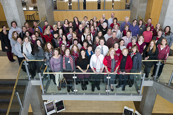 Group photo of faculty and staff at the WSU College of Nursing, which has been named a Center of Excellence.