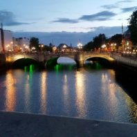 Nightime shot of a bridge over the River Liffey in Dublin.
