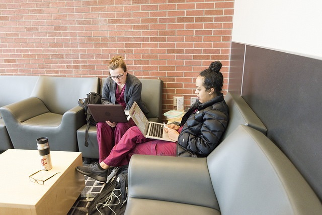 Two students in scrubs sit looking at their laptops.