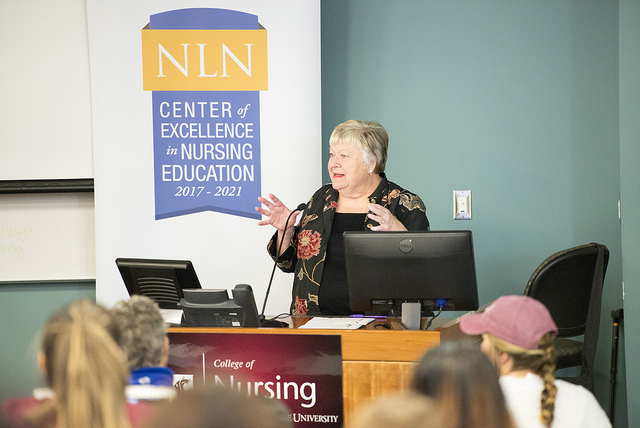 Dr. Angela Barron McBride spoke to students and faculty at the WSU College of Nursing on Thursday, Sept. 14, 2017 as the 20th Annual Cleveland Visiting Scholar.