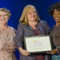 The WSU College of Nursing and one of its faculty were honored by the National League for Nursing (NLN) in a ceremony on Saturday, Sept. 16, 2017. Left to right: Renee Hoeksel, Executive Associate Dean; Joyce Griffin-Sobel, Dean and Professor; and Rumay Alexander, NLN President.