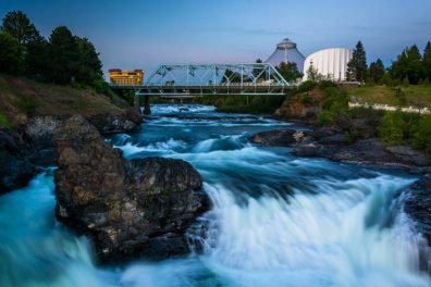 scenic of Spokane Falls at dusk