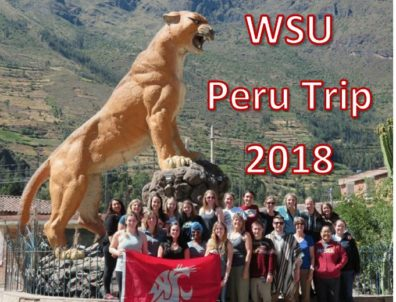 Group photo with huge cougar statue
