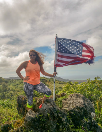 Angela Brown with American Flag in Guam