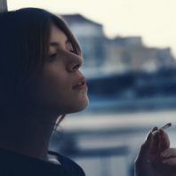 Girl smoking joint
