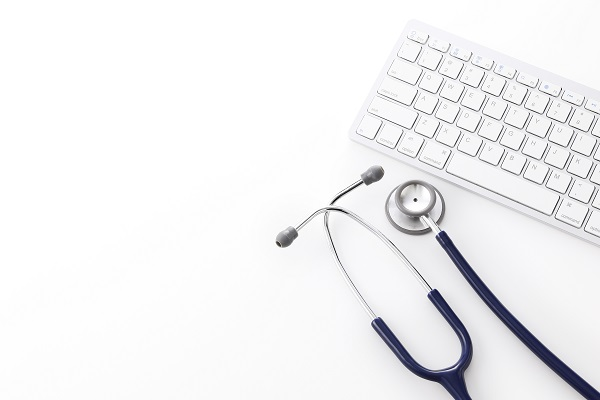 stock art of stethoscope and keyboard