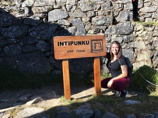 Nursing student Kenzie McNeel at Sungate, near Machu Picchu.