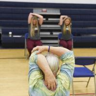 Two WSU Nursing students lead exerecise class