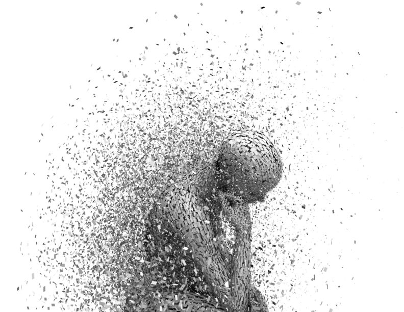 illustration of a person breaking apart