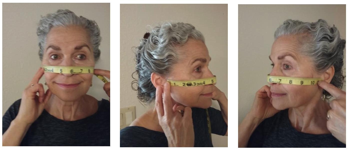 Woman demonstrating mask measurements