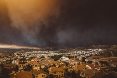 wildfire close to homes in California