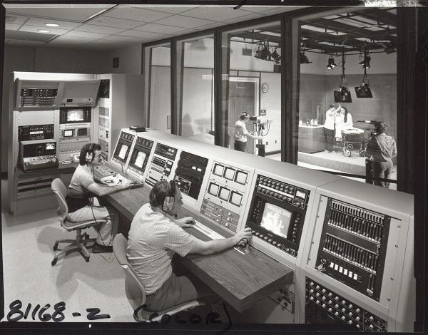 Historic photo of college AV lab
