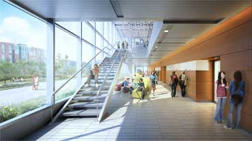 Artistic rendering of Pharmaceutical and Biomedical Sciences building inside