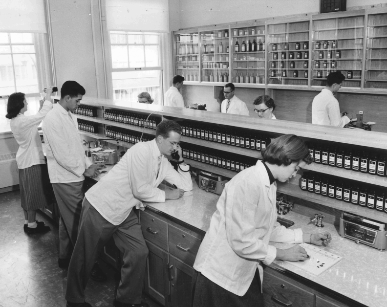 Archived photo of student pharmacists in class