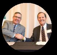 WSU President Kirk Shulz and Pullman Regional Hospital CEO Scott Adams