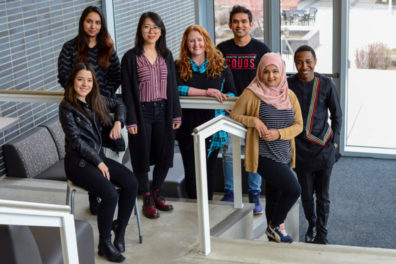 The Association of International and Intercultural Students of Health Sciences board are: Keti Bardhi; Farheen Shaikh; Yuening Liu; Ruby Siegel; Mahamadul (Maha) Haque; Shamema Nasrin; and Peter Obi.